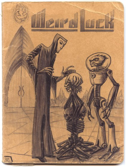 Mike Bennewitz's Weird Luck sketchbook cover showing Apraxos and Thresner atop the Tower of the Skull
