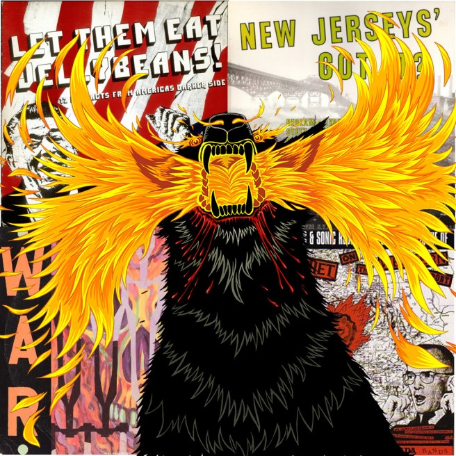 Akaz vs. Reagan -- Akaz illustration from the cover of the comic book Weird Luck #0, superimposed over the covers of essential U.S. hardcore punk compilations